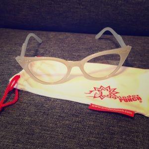 Fashion rhinestone cat eye clear lens glasses